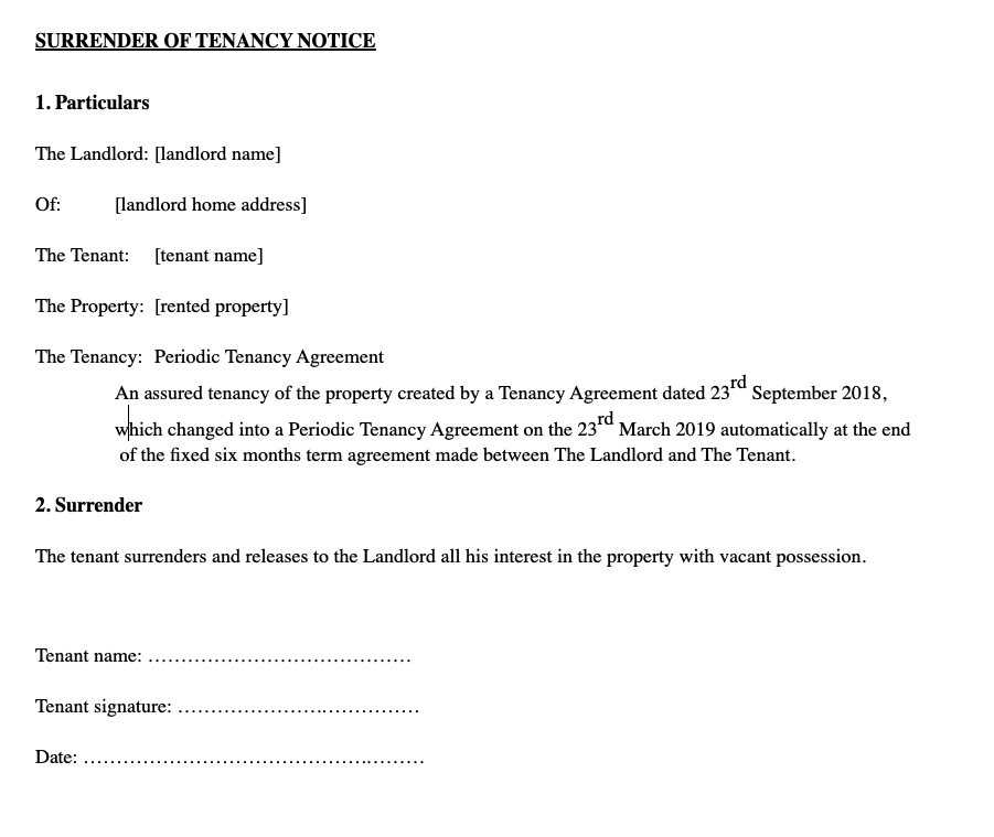 sample notice letter to landlord for moving out